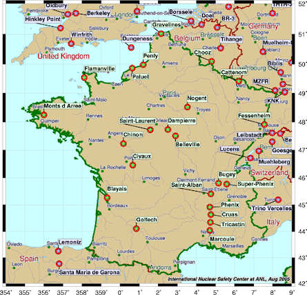 Nuclear power plants in France and immediately surrounding regions