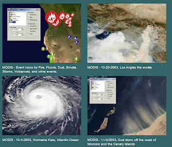 Screen shots from NASA's World Wind open source software (similar to Google Earth); click for larger image