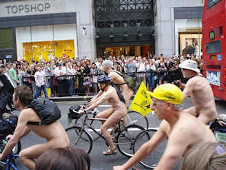 World Naked Bike Ride (WNBR) speaks for personal action, health, and a break from the corporate fossil fuel culture