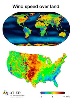 Map of World and USA wind power potential