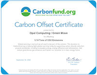 Carbon Offset Certificate from certified, non-profit CarbonFund.org; click for larger image