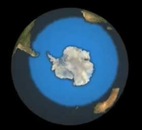 South pole and its ice cap; click to see video