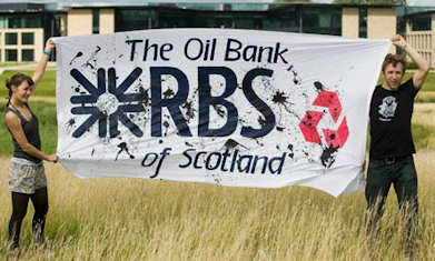 Climate Camp activists at the site behind the Royal Bank of Scotland's Edinburgh headquarters. Photograph: Derek Blair/AFP/Getty Images