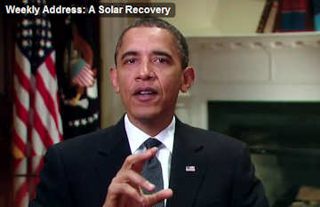 Barack Obama speaks about economic recovery and funding of solar energy research and development; click to see the video